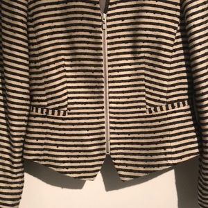 LOFT Wool Stripped Blazer w/ zipper
